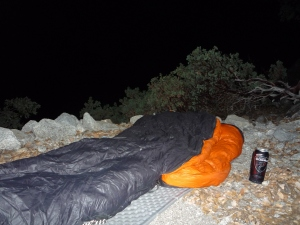 First luxury bivi. Sleeping bag and Cobra.